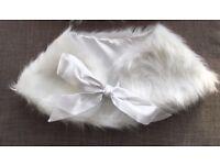 Girls white faux fur cape