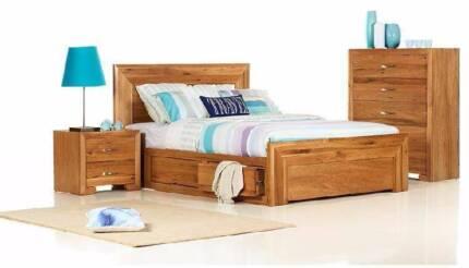 3 pce Chestnut Queen Bedroom Suite AV At Midvale Showroom Only