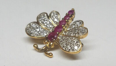 Vintage 18K GOLD over STERLING SILVER BUTTERFLY BROOCH / PIN -RUBY Gemstone