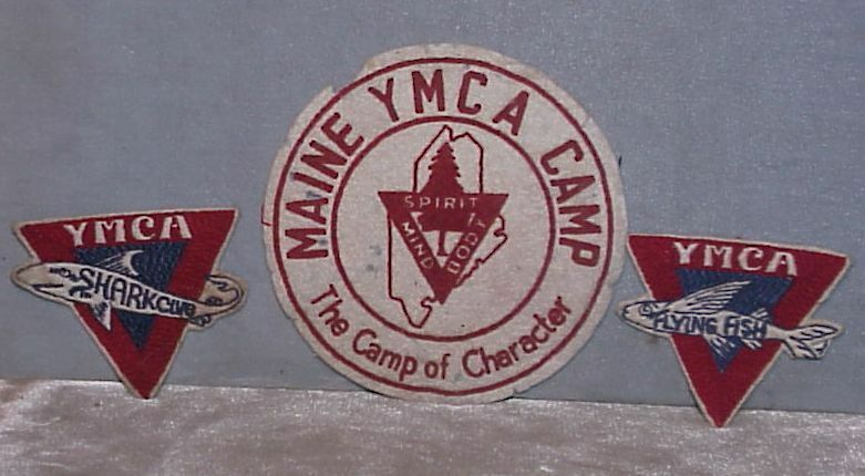 THREE VINTAGE ymca PATCHES MAINE CAMP, TWO SWIMMING PATCHES