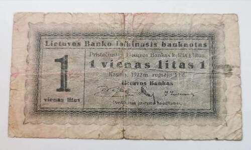 Lithuania Lietuva 1 Litas Banknote 1922 Rare