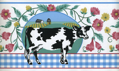 Black And White Borders (BLACK AND WHITE COWS WITH  BLUE AND WHITE CHECK WALLPAPER)