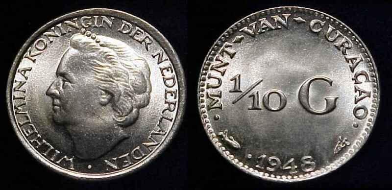 CURACAO 1948 Silver 1/10 Gulden Gem BU