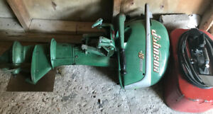 1952 Johnson 10HP Seahorse outboard engine and tank