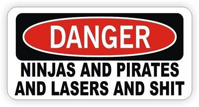Funny Hard Hat Sticker Danger - Ninjas Pirates Lasers Welding Helmet Decal