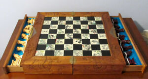 Vintage Asian Wood Carved Chess Board with Chess Pieces