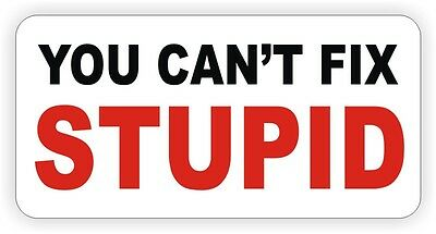 You Cant Fix Stupid Hard Hat Sticker Decal Funny Foreman Laborer Helmet Label