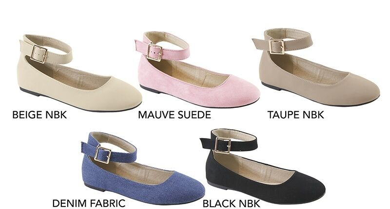 New Women Classic Round Closed Toe Ballet Flat Ballerina Shoe Buckle Ankle Strap