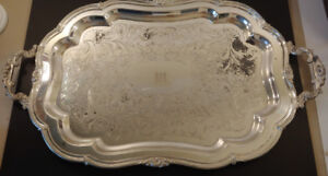 Antique Huge Heavy Silverplate Serving Tray Circa 1881