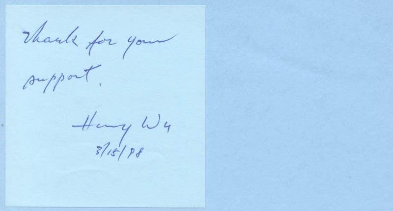 HARRY WU - AUTOGRAPH SENTIMENT SIGNED 03/15/1998