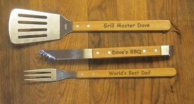 engraved personalized barbeque BBQ tools great for Dad grandpa gift