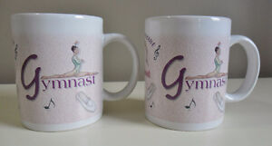 """Enesco Gymnast """"It's All About Dance"""" Mugs Set of Two NEW"""