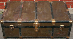 Antique Steamer Trunk / Chest with Original Key
