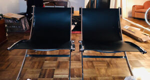 Pair of Mid-Century Chrome and Leather Lounge Chairs