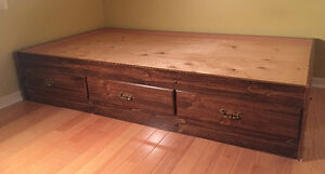 MINT BROWN UNIQUE STYLE TWIN SIZE CAPTAIN'S BED WITH DRAWERS
