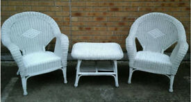 Pair of nice wicker chairs and matching table
