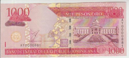 Dominican Rep 1000 Pesos 2003 Pick 173b UNC Low number 000881
