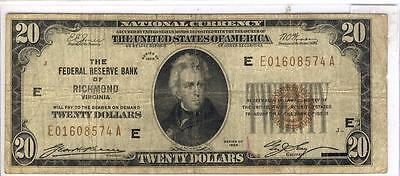 C1690  1929  20 Richmond  Virginia National Bank Note  E   E01608574a