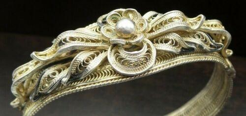 Beautiful Vintage European Gilt Sterling Silver Filigree Hinge Bracelet