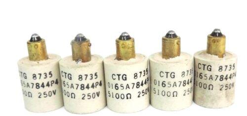 LOT OF 5 GENERAL ELECTRIC 0165A7844P4 RESISTORS CTG 8735, 5100 OHMS, 250V