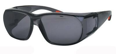 Shatterproof Fit Over Most Glasses Safety Sunglasses Dark Smoke Lenses (Shades Over Glasses)