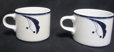 Two Dansk Flora Bayberry Blue 8 oz Coffee Cups