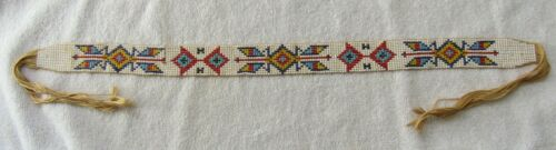 Vintage Sioux Indian Bead Beaded Beadwork Hatband Hat Band Route 66 Souvenir