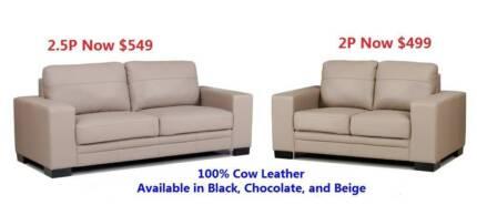 Seattle 100% cow leather lounge suite, 2P $499, 2.5P $549 Salisbury Brisbane South West Preview