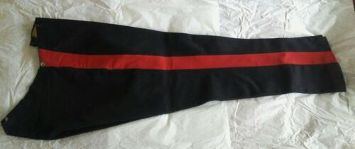 British Army Officer Trousers, Pre-WWI Era, Heavy Black Wool with Red Stripe