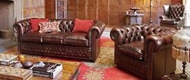 Champ 3 and 2 seat leather sofas