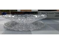 Vintage 70s Stunning French Gier Glass set: Fruit Bowl + Cake Platter in original box