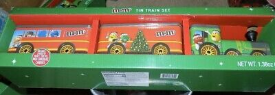 Large M & M's CHRISTMAS TIN TRAIN SET, LIMITED EDITION New in Box Christmas 2019