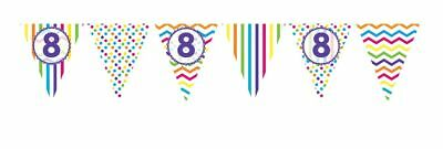 ** 12ft RAINBOW 8 BIRTHDAY FLAG BUNTING CHILDRENS  8th STRIPES SPOTS DECORATION