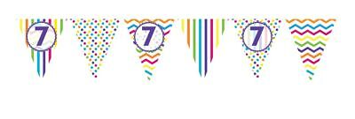 ** 12ft RAINBOW 7 BIRTHDAY FLAG BUNTING CHILDRENS  7th STRIPES SPOTS DECORATION