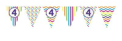** 12ft RAINBOW 4 BIRTHDAY FLAG BUNTING CHILDRENS  4th STRIPES SPOTS DECORATION