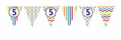 ** 12ft RAINBOW 5 BIRTHDAY FLAG BUNTING CHILDRENS  5th STRIPES SPOTS DECORATION