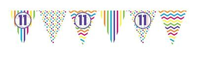 ** 12ft RAINBOW 11 BIRTHDAY FLAG BUNTING CHILDRENS 11th STRIPES SPOTS DECORATION
