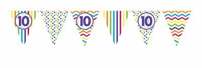 ** 12ft RAINBOW 10 BIRTHDAY FLAG BUNTING CHILDRENS 10th STRIPES SPOTS DECORATION