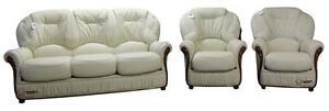 Debora 3 Seater+Chair+Chair Italian Leather Three Piece Sofa Suite Cream