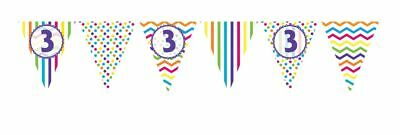 ** 12ft RAINBOW 3 BIRTHDAY FLAG BUNTING CHILDRENS  3rd STRIPES SPOTS DECORATION