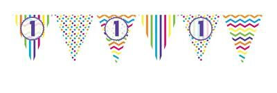 ** 12ft RAINBOW 1 BIRTHDAY FLAG BUNTING CHILDRENS  1st STRIPES SPOTS DECORATION
