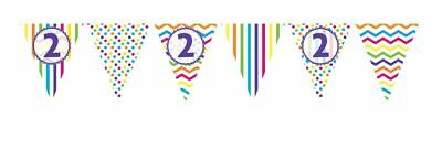 ** 12ft RAINBOW 2 BIRTHDAY FLAG BUNTING CHILDRENS  2nd STRIPES SPOTS DECORATION