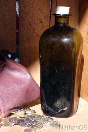 17th Century Handblown Case Bottle Pirate Grog Bottle replica