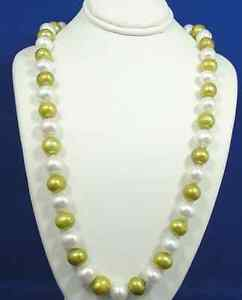 AUTHENTIC Green/Cream Fresh Water Pearl Necklace