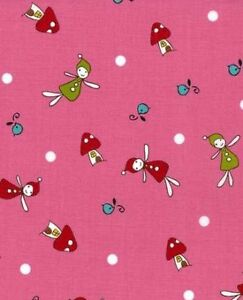 WOODLANDS MINI FAIRIES PINK NATALIE LYMER LECIEN QUILT CRAFT SEWING FABRIC 1/2y