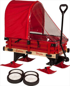 Convertible red wagon with wheels, sleigh runners, shield