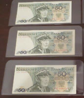 Collection of 3 uncirculated 50$ Narodowy bills, year 1988