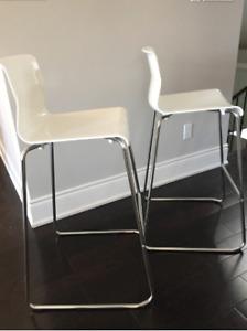 2 White GLENN IKEA Bar stools (77cm Tall) $70 for both