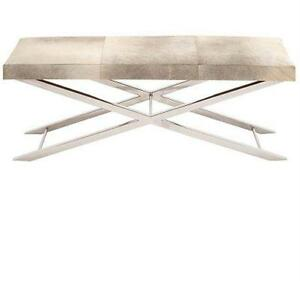 "NEW DECO 79 SS LEATHER HIDE BENCH STAINLESS STEEL BENCH - 46"" X 18"" - GREY 46 INCH BY 18 INCH TABLE FURNITURE   79631747"
