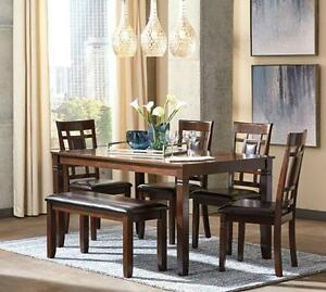 Brand New 6 Piece Ashley Dining Set with Bench - Payment Plan
